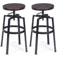 Costway Set of 2 Vintage Bar Stool Adjustable Wood Metal Design Pub Chairs Industrial - as pic