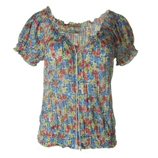 Belle du Jour Womens Juniors Peasant Casual Top Floral Print Smocked - M