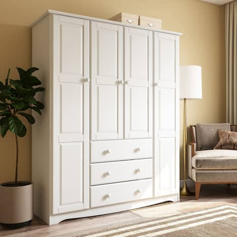 Palace Imports Family 4-door Solid Wood Wardrobe (No Shelves Included) - 60.25 inch W x 72 inch H x 20.75 inch D