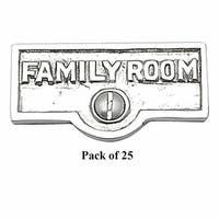 25 Switch Plate Tags FAMILY ROOM Name Signs Label Chrome Brass | Renovator's Supply