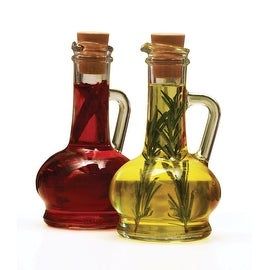 Palais Glassware Oil and Vinegar Clear Glass Dispenser Cruet Bottle, with Cork Lid - Set of 2