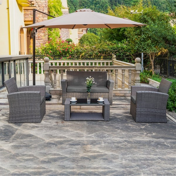 Grandview Outdoor 4-piece Grey Wicker Conversation Set with Cushions. Opens flyout.
