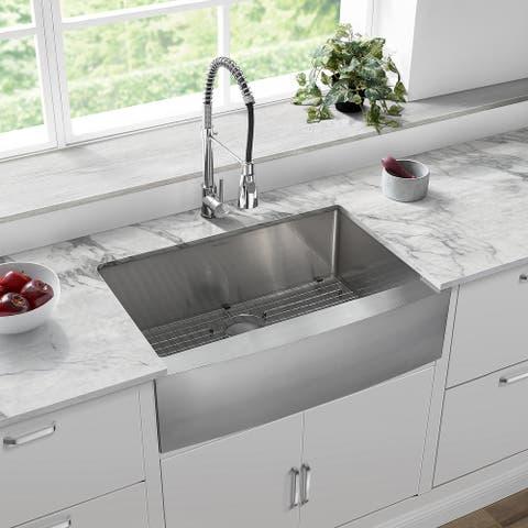 "Tourner 30 x 21 Stainless Steel, Single Basin, Farmhouse Kitchen Sink with Apron - 30"" x 21"""