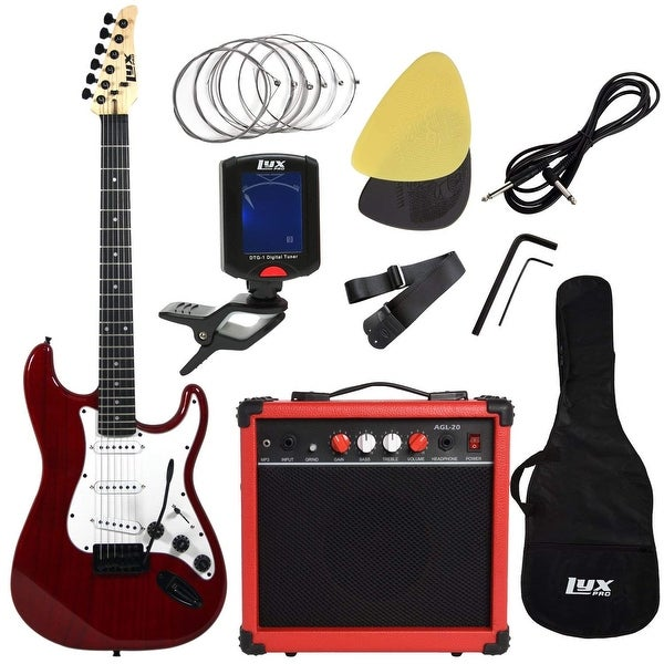 LyxPro Electric Guitar with 20w Amp, Includes- Digital Tuner, Strings, Picks, Tremolo Bar, Shoulder Strap, Case Bag