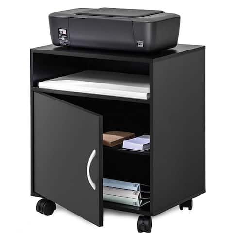 Printer Stand File Storage Mobile Black Wooden Work Cart On Wheels