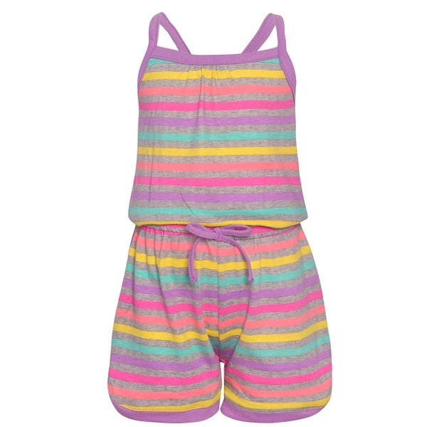 2d0dd41379710 Shop Real Love Little Girls Purple Multi Color Stripe Tie Casual Romper -  Free Shipping On Orders Over $45 - Overstock - 28299214