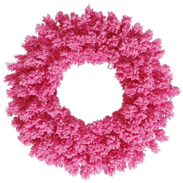"""36"""" Flocked Pink Fir Wreath 260T"""