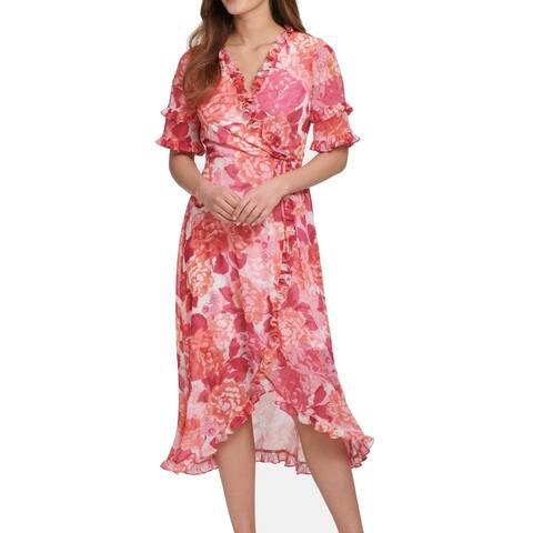 Kensie Womens Dress Pink Size 8 A-Line Surplice Ruffle Trim Floral