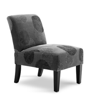 BELLEZE Curved Back Accent Slipper Chair Living Room Bedroom, Charcoal Sunflower