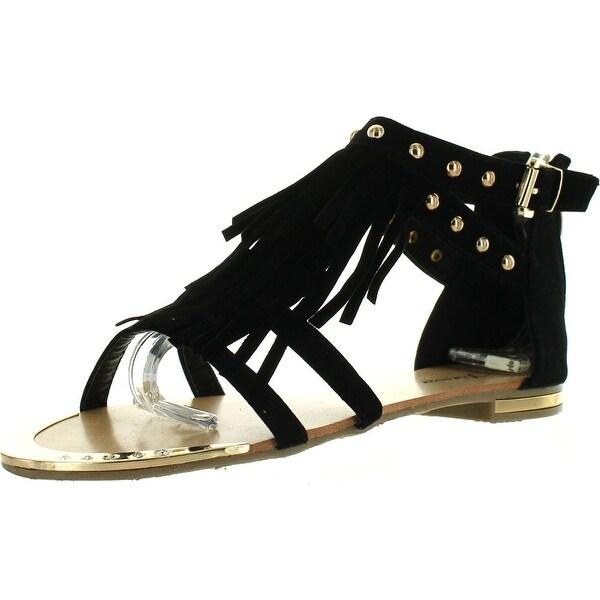 Forever Tyler-26 Womens New Fringed Studded Rhinestones Sandal Tassels Shoes