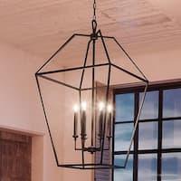 "Luxury Colonial Chandelier, 31.75""H x 20.25""W, with Minimalist Style, Bird Cage Design, Parisian Bronze Finish"