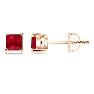 Angara Classic Basket Set Square Ruby Stud Earrings