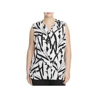 Foxcroft Womens Plus Brushstroke Blouse Printed Split Neck
