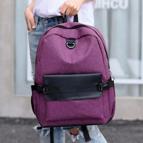 882c90782a6a Shop Unisex Rechargeable Handbag Backpack School travel Canvas ...