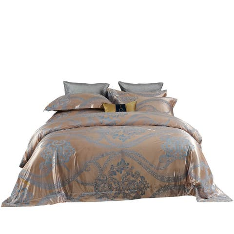 Duvet Cover 6 Pieces Set with Flashy Jacquard Top and 100% Cotton Inside