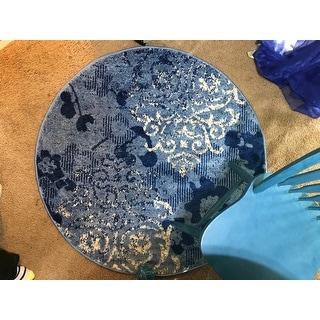 Safavieh Adirondack Roxy Vintage Damask Light Blue/ Dark Blue Rug - 4' x 4' Round