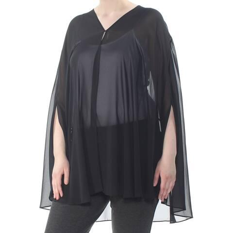 TAHARI Womens Black Sheer Single Button Cape Overlay Open Cardigan Top Plus Size: XL
