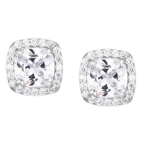 Cubic Zirconia Cushion Stud Silver Plated Earrings