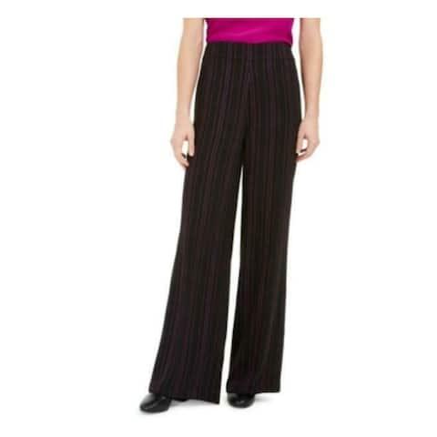 BAR III Womens Black Zippered Pinstripe Flare Pants Size 0