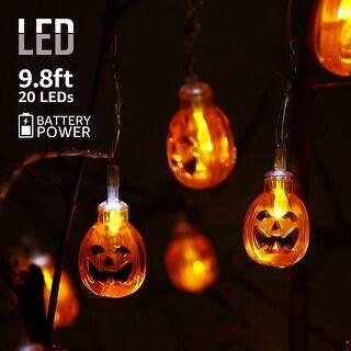 Halloween Copper Wire String Lights,Round Pumpkins Pendants,8 Modes