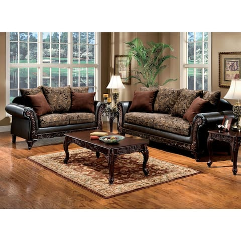 Furniture of America Krinda Traditional Froral Brown 2-piece Sofa Set