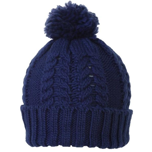 TopHeadwear Crochet Knit Pom Cuff Beanie, Cobalt