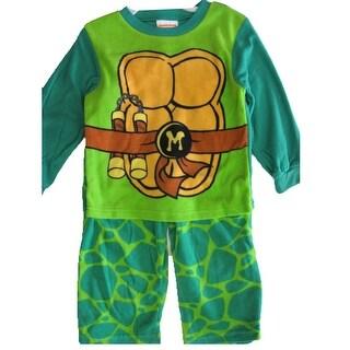 Nickelodeon Little Boys Green Michelangelo Ninja Turtles 2 Pc Pajama Set 2T-4T