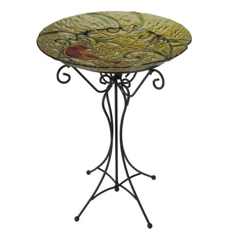 """23"""" Gold and Red Country Rustic Hand Painted Glass Cardinal Garden Bird Bath"""