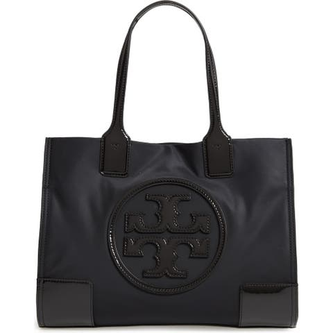 Tory Burch Women's Mini Ella Black Patent Leather-trimmed Nylon Tote