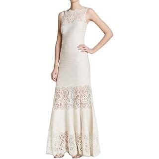 Tadashi Shoji Womens Evening Dress Lace Pintuck