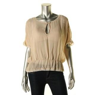 Zara Womens Lace Trim Dolman Sleeves Blouse - L