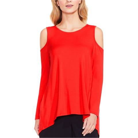 Vince Camuto Womens Cold Shoulder Basic T-Shirt, Red, Large