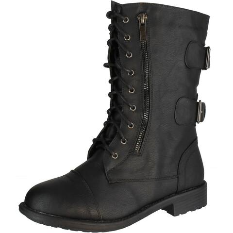 Top Moda Pack 72 Womens Military Lace Up Buckle Combat Boots