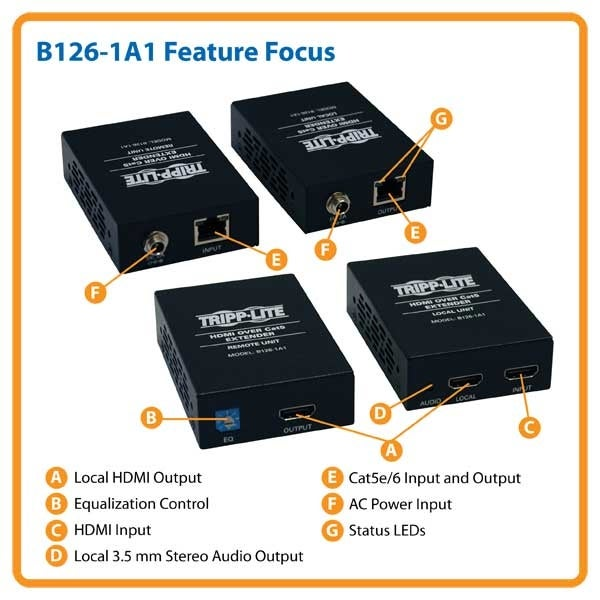 Tripp Lite B126-1A1 Hdmi Over Cat5/6 Active Extender Kit, Box-Style Transmitter & Receiver