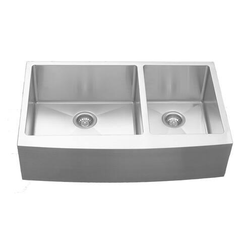 Karran Stainless Steel 36 in. Farmhouse/Apron Double bowl 60/40 Sink
