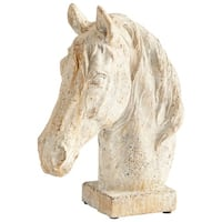 "Cyan Design 8682 Majestic Mane 11"" Tall Cement Horse-Head Sculpture - Antique White - N/A"