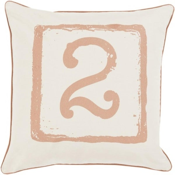 "18"" Cream White and Sepia Brown ""2"" Big Kid Blocks Throw Pillow-Down Filler"