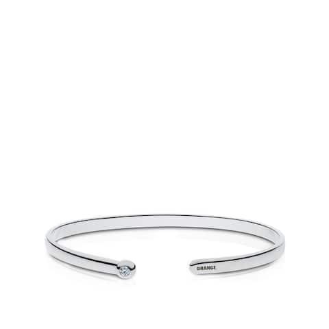 Syracuse University Engraved Sterling Silver Diamond Cuff Bracelet