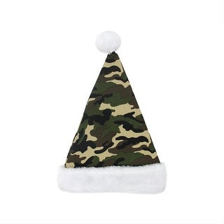 "17"" Camouflage Faux-Fur Cuffed Christmas Santa Claus Hat - Adult Size"