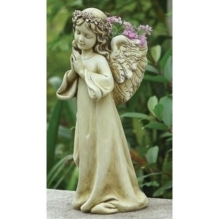 "16"" Joseph's Studio Religious Praying Angel Child Outdoor Garden Planter Statue - Brown"