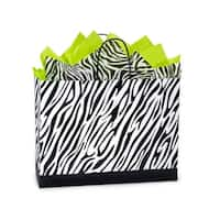 """Pack of 250, Vogue Zebra Recycled Paper Bags 16 X 6 X 12.5"""" 100% Recyclable, Made In Usa"""