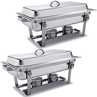 Shop 2 Packs Chafing Dish 9 Quart Stainless Steel Rectangular Chafer Full Size Buffet