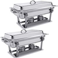 Costway Rectangular Chafing Dish Stainless Steel Full Size 2 Pack of 8 Quart - Sliver