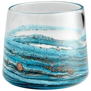 """Cyan Design 09984  Rogue 8-1/2"""" Diameter Glass Vase - Blue"""