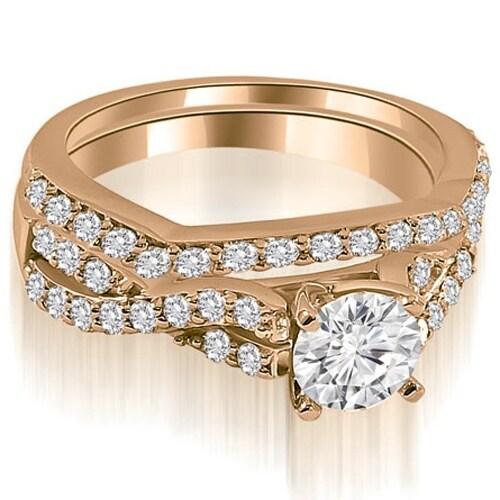 1.40 cttw. 14K Rose Gold Twisted Split Shank Round Cut Diamond Bridal Set