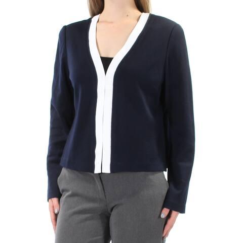ST JOHN Womens Navy Slitted V Neck Bolero Wear To Work Jacket Size: 10