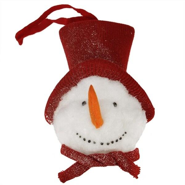 "15"" Glittered Snowman Head Soft Plush Hanging Christmas Decoration"