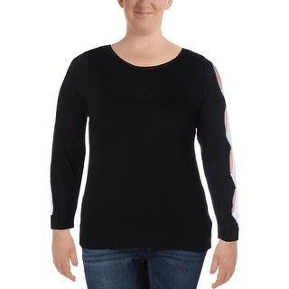 NY Collection Womens Pullover Sweater Ribbed Knit Open Sleeve