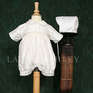 Baby Boys White Smocked Silk Dupioni Baptism Lattice Romper 3M-12M