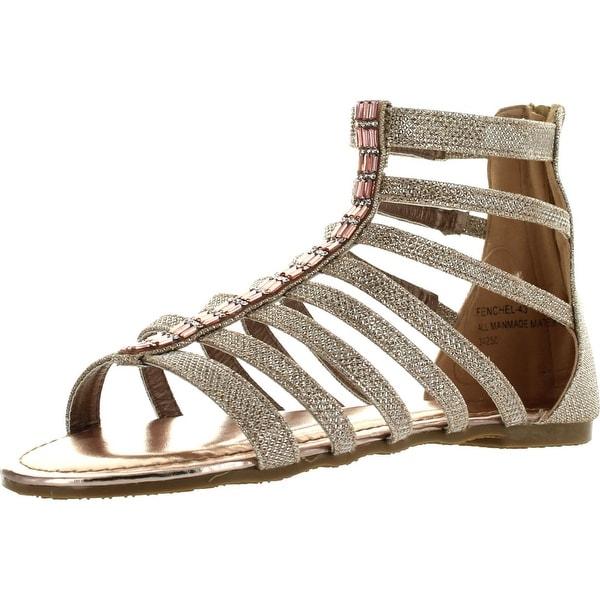Bamboo Womens Fenchel 43 Gladiator Rhinestone Glitter Thong Flat Sandals Rose Gold
